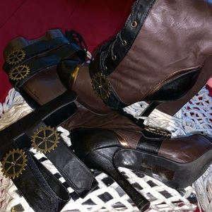Shoes - Knee high Steampunk Boots